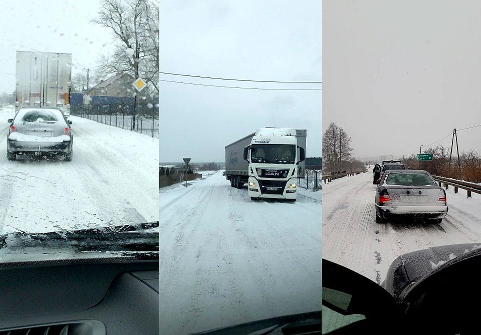 Wideo: Trudne warunki na drogach powiatu. Liczne korki, kłopoty ciężarówek.