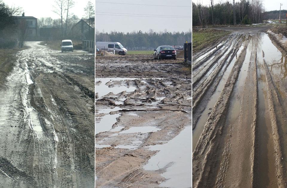 W Gozdowie mają błota co niemiara... od lat. Problem błotnistych dróg i to nie tylko na wsiach.