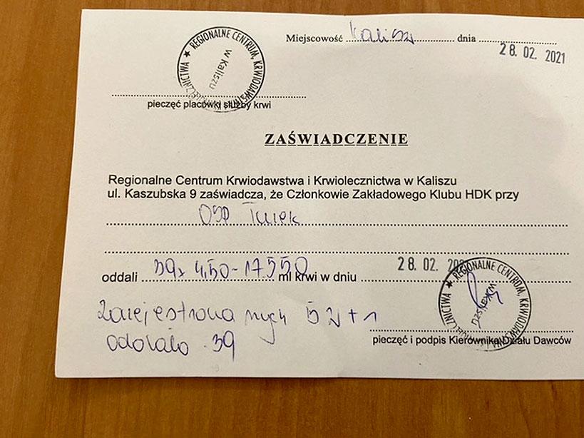 Krew to życie! Kolejny udany pobór krwi klubu HDK PCK przy OSP Turek