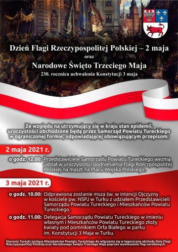 Samorząd Powiatu Tureckiego uczci święta majowe w sposób symboliczny