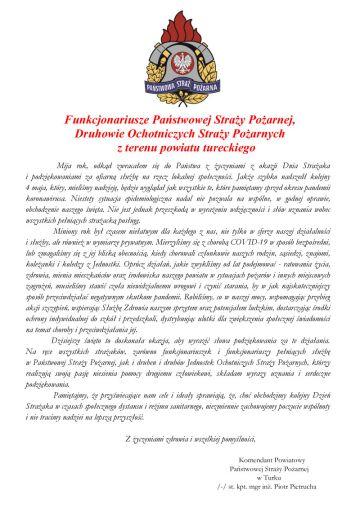 List Komendanta PSP w Turku z okazji Dnia Strażaka