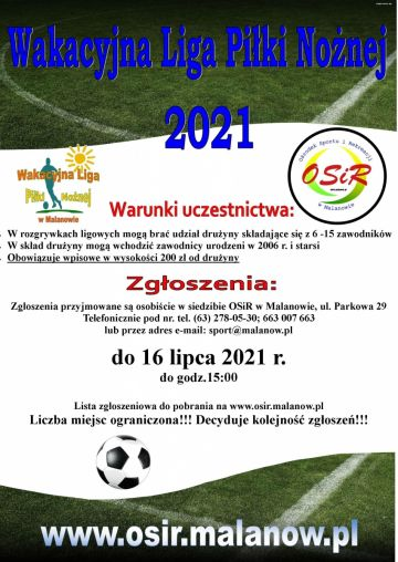 Zgłoszenia na Wakacyjną Ligę Piłki Nożnej dobiegają końca - pozostały 2 dni!
