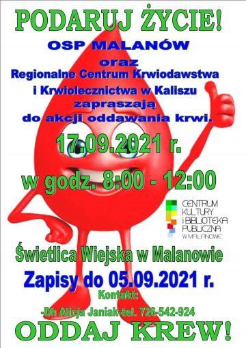 Podaruj Życie! Oddaj Krew! w Malanowie