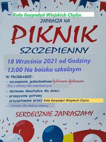 Piknik Szczepienny w Chylinie. Będą atrakcje dla najmłodszych, pyszne potrawy i dobra muzyka.