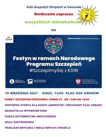 Gospodynie z KGW Ewinów zapraszają na Festyn ze szczepieniami. Już w niedzielę moc atrakcji w Ewinowie.