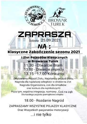 Klasyczne zakończenie sezonu i I Zlot Pojazdów Klasycznych już w sobotę w Browarze Turek