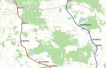 Dwie propozycje ułożenia linii kolejowej...