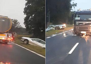 Zderzenie osobówki i samochodu ciężarowego w...