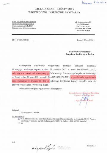 Decyzja o karze 30 tys. zł dla organizatora najsłynniejszego wesela w pandemii uchylona.